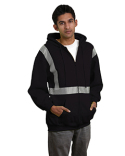 BA3737 Bayside 9.5 oz., 80/20 Hi-Visibility Segmented Striping Full-Zip Hooded Sweatshirt