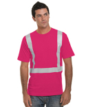 BA3751 Bayside Hi-Visibility 100% Cotton Crew Solid Striping T-Shirt