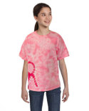 CD1150Y Tie-Dye Youth Pink Ribbon T-Shirt