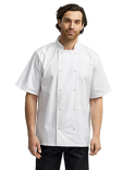 RP664 Artisan Collection by Reprime Unisex Studded Front Short-Sleeve Chef's Jacket