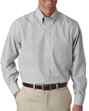 V0420 Van Heusen Men's Long-Sleeve Non-Iron Feather Stripe